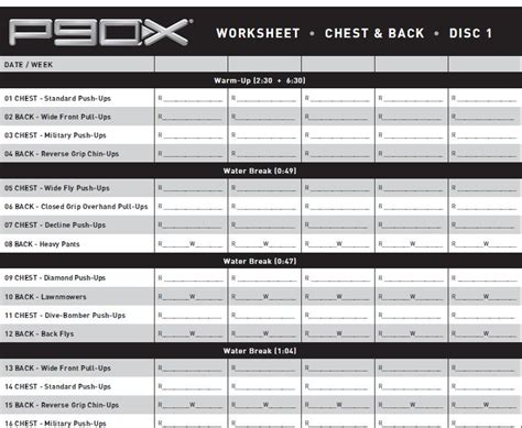 Chest And Back P90x Worksheet by P90x Chest And Back Worksheet Deployday