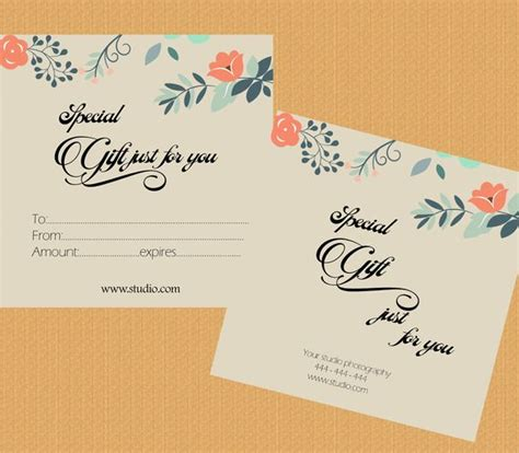 wedding gift card template gift certificate template by appbebe on creative market