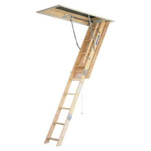shop werner 7 ft to 8 75 ft type i wood attic ladder at lowes com