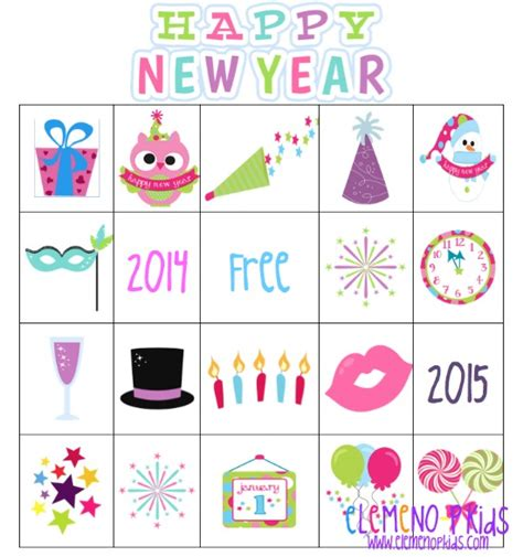 new year free printable cards bingo elemeno p