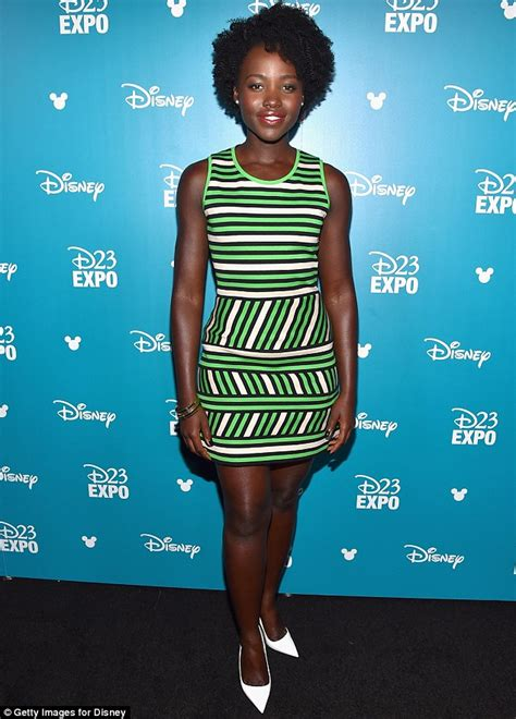 when did get color lupita nyong o dazzles in striped dress at disney d23 expo