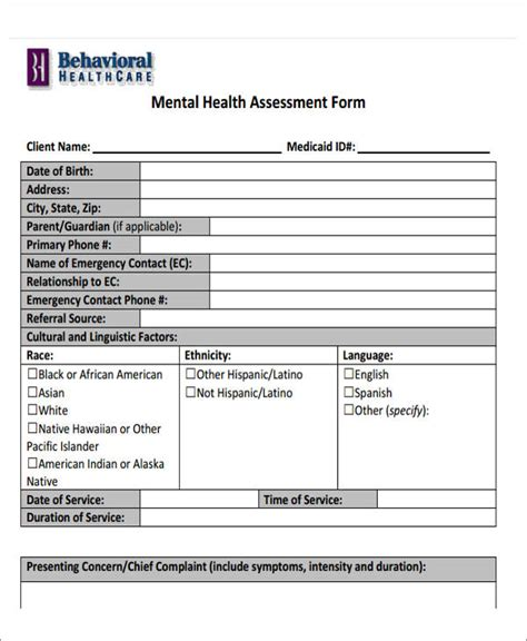 mental health assessment template 43 free assessment forms