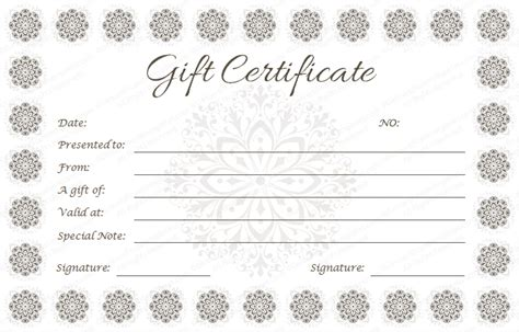 flower gift card template snow flowers gift certificate template