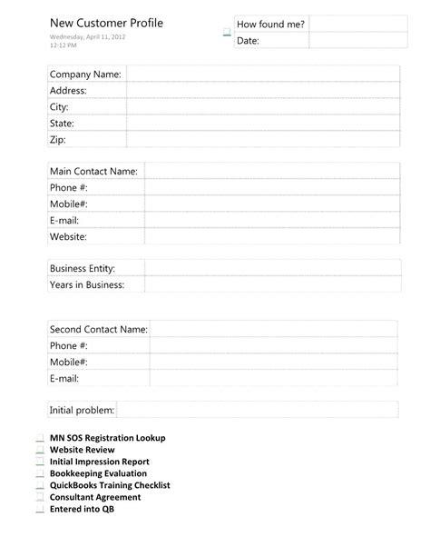 Customer Profile Template Word Customer Profile Template