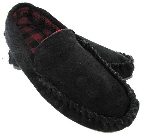 gents slippers leather gents real leather suede moccasin mens winter flat black