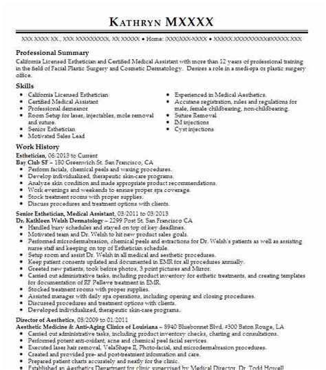 Medical Esthetician Resume Sample by Best Esthetician Resume Example Livecareer