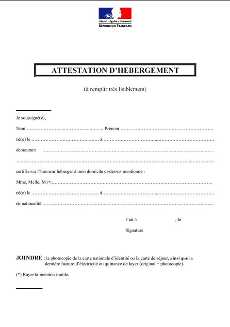 Model Attestation D Hebergement