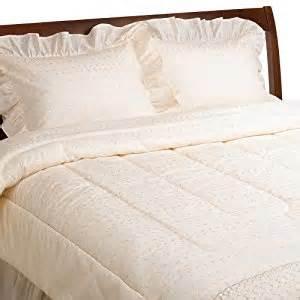 amazon com ivory poly cotton eyelet comforter set queen
