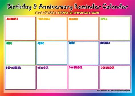 birthday reminder calendar template 17 best images about birthdays and annivsaries calendars