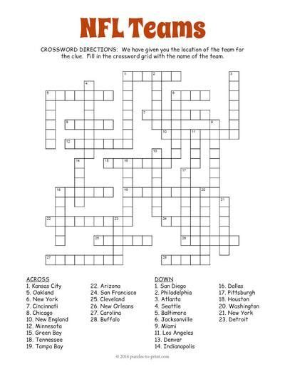 Football Worksheets For Middle School by In This Nfl Teams Crossword Puzzle We Give You The