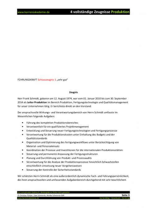 4 x Arbeitszeugnis: Leiter Produktion (m/w)   Karriereakademie