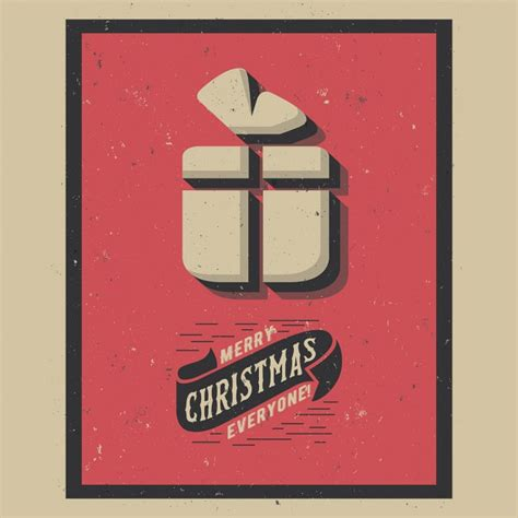 retro christmas gift background vector free download