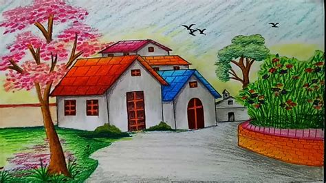 how to draw a boat with oil pastels drawing of landscape scenery how to draw landscape