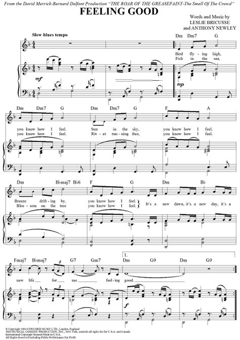 tutorial piano feeling good feelings piano sheet music free feeling good sheet music