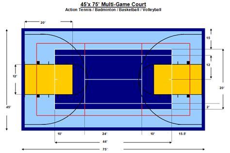layout multi sails js multi sport court dimensions measurements pictures