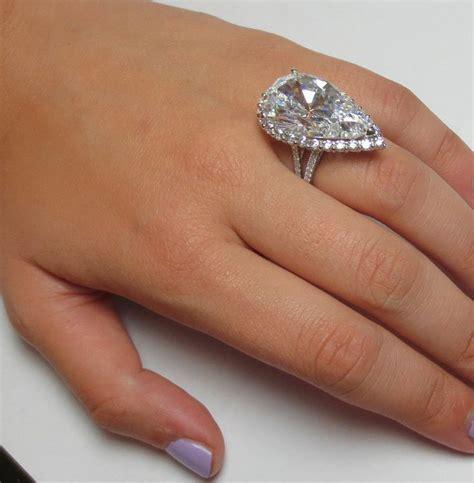amazing 15 carats pear cut halo engagement