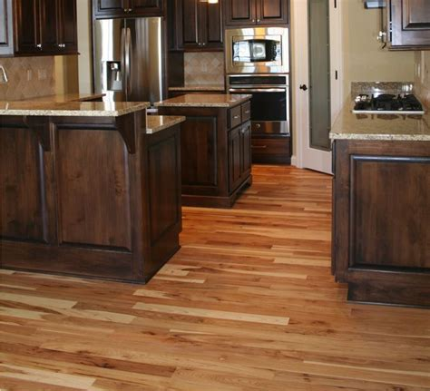 hickory floors with white cabinets dark cabinets with hickory wood floors wood floors
