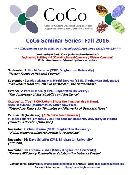 coco xxi schedule center for collective dynamics of complex systems coco