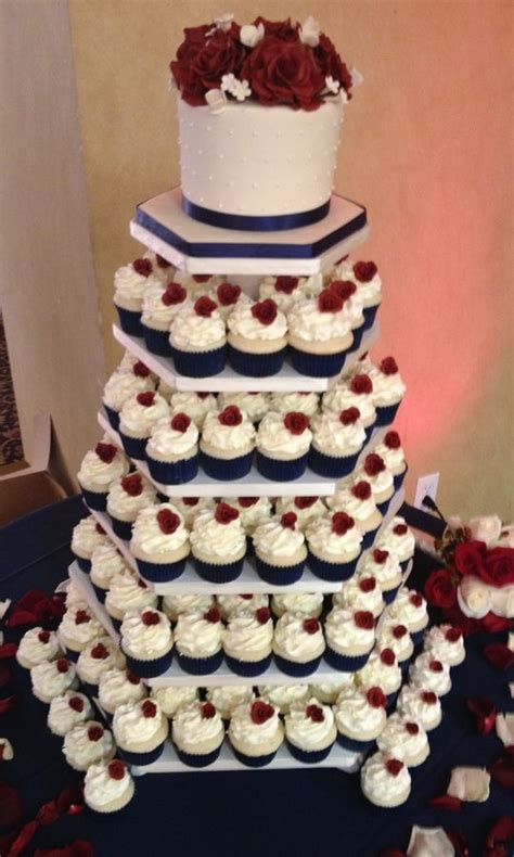 Nadiran Maroon Navy Salem burgundy wedding navy blue burgundy ivory cupcake tower mini cakes petit fours