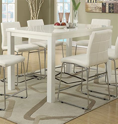 high gloss white wood finish counter height dining table