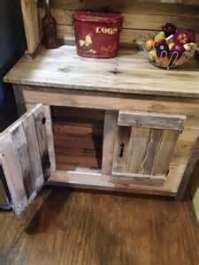 Rustic wooden pallet kitchen hutch