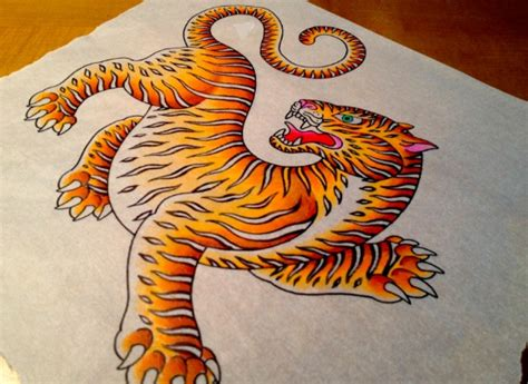 tibetan tiger tattoo color study for jeff s leg chris