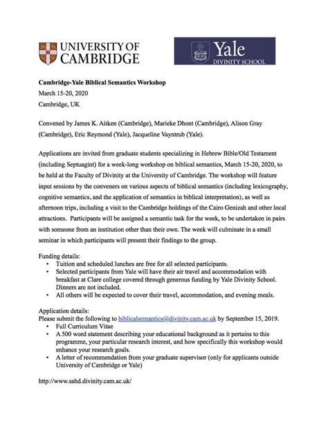 cambridge yale biblical semantics workshop renewed philology