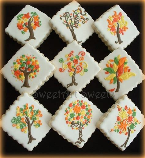 fall cookies 1 dozen fall tree cookies - Fall Decorated Cookies