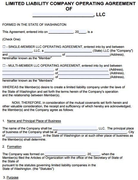 Free Washington Llc Operating Agreement Template Pdf Word Limited Liability Partnership Template