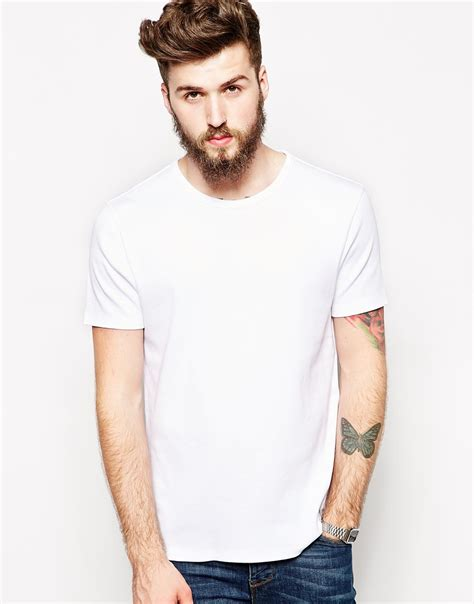 design free asos t shirt asos t shirt with bound crew neck and ribbed jersey in