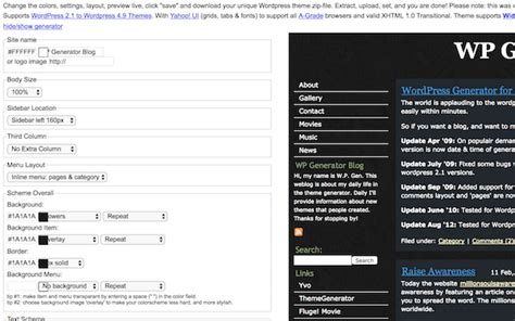 wordpress theme generator mac os x templates archives free website tools