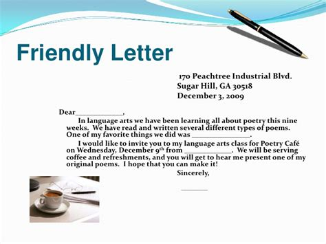 Letter Using Figurative Language Friendly Letter For Poetry Cafe
