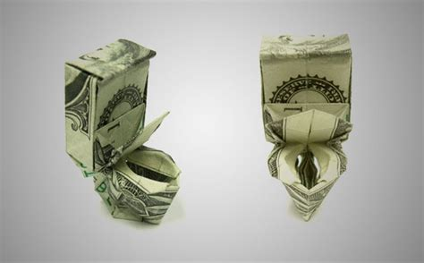 Toilet Origami - 20 cool exles of dollar bill origami bored panda