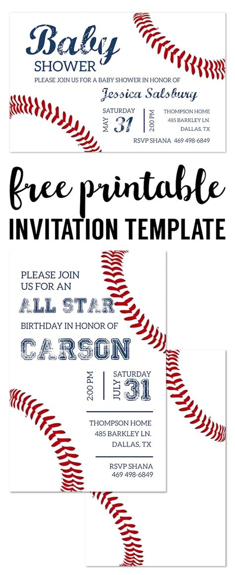 692 Best Birthday Theme Baseball Images On Pinterest Baseball Party Birthday Baseball Invitation Template