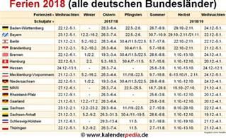 Calendar 2018 Deutschland Ferien 2018 In Deutschland Alle Bundesl 228 Nder