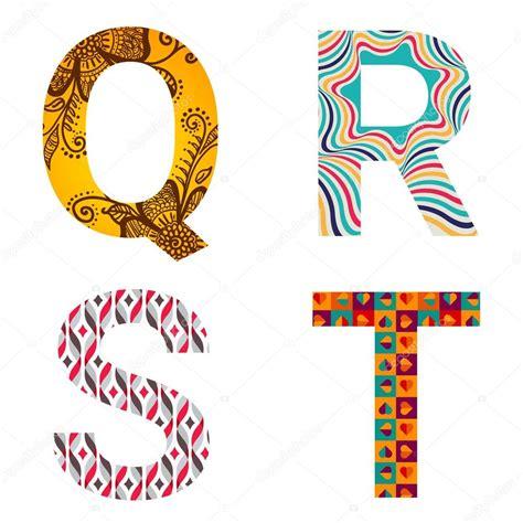 immagini lettere set di lettere colorate fantasia vettoriali stock