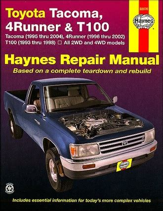 where to buy car manuals 1995 toyota tacoma xtra free book repair manuals toyota tacoma 4runner t100 repair manual 1993 2004 haynes