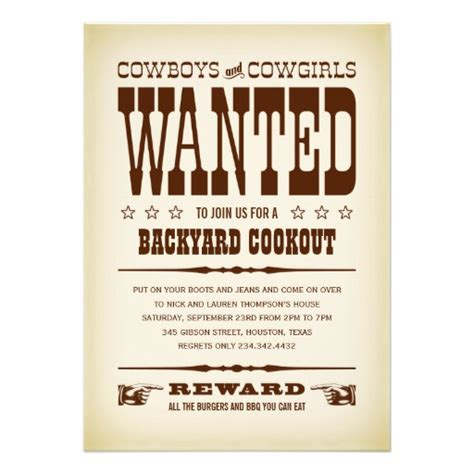 wanted poster invitation template western wanted poster invitations 5 quot x 7 quot invitation