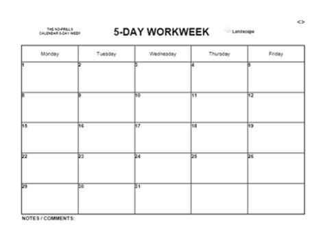 5 Day Work Week Calendar Template by 5 Day Week 2018 Calendar By Month Mon Thru Fri