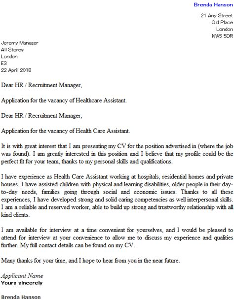 Patient Care Assistant Cover Letter health care assistant cover letter exle cover letters
