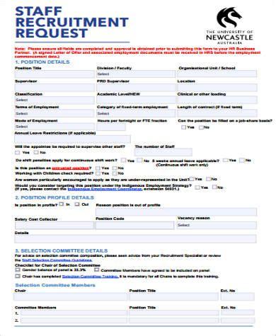 recruitment form template recruitment request form
