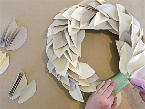 How To Make A Paper Wreath - how to make a paper leaf wreath hgtv crafternoon hgtv