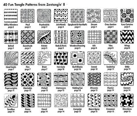 Zentangle Pattern Guide | zentangle 8 monograms alphabets and 40 new tangles by