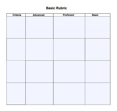 Basic Rubric Template sle blank rubric 9 documents in word pdf
