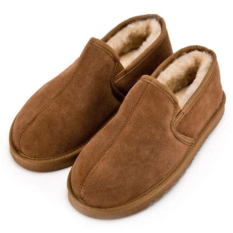 slipper boots mens mens hardsole chestnut sheepskin slipper boot