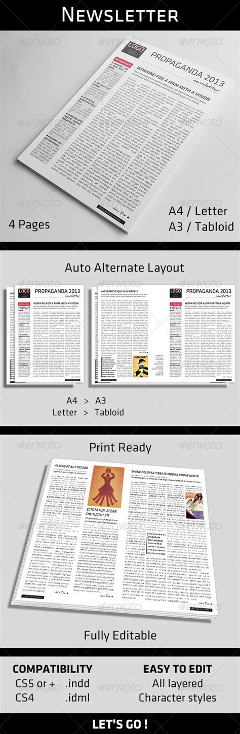 pages newsletter templates 4 pages newsletter template by gggrafics graphicriver