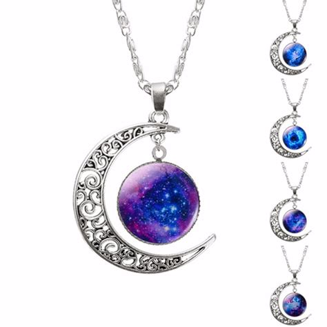 Lovely Necklaces by Lovely Necklace With Galaxy Moon Pendant Marvelous Drops