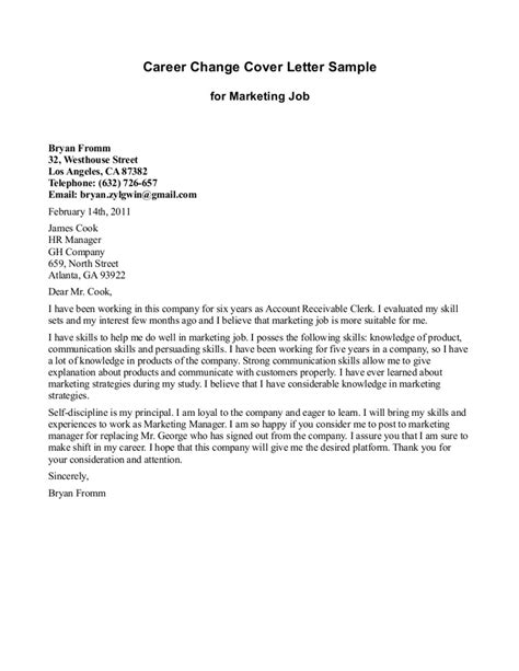 career change cover letter sles cover letter for career change sle for marketing
