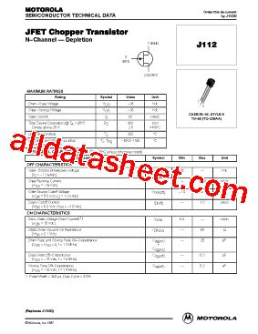 fet transistor part number j112 datasheet pdf on semiconductor