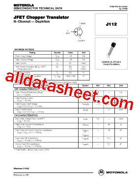 transistor fet de junção j112 datasheet pdf on semiconductor